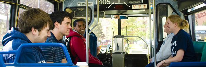 Penn State students enjoying the ride on an AMTRAN bus